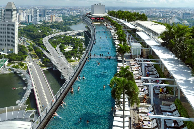 200 metri di altezza e una vista mozzafiato su singapore for Hotel singapur piscina